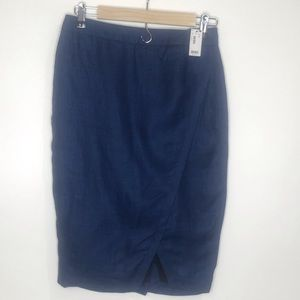 NWT The Limited Linen Pencil Skirt Blue Size 2